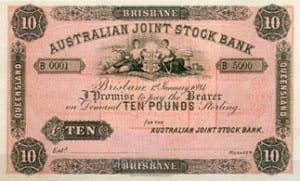 A Ten Pound banknote issued by the Australian Joint Stock Bank. Established in Sydney in 1853, the Australian Joint Stock Bank was reconstituted as the Australia Bank of Commerce Ltd in 1910.