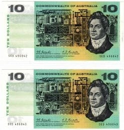 313b UNC Note Australia $10 10 Dollars Fraser Cole 1991 Without Plate Number R
