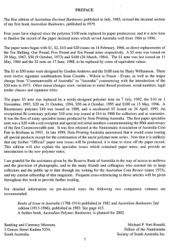Australian Decimal Banknotes Book Preface