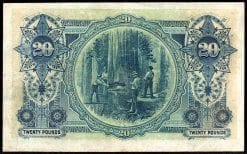 R65B Twenty Pound Pre-decimal Banknote Back