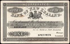 Bank if NZ Auckland 1861 Specimen