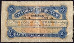 The Sydney Deposit Bank Five Pound 1890-91