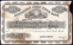 The Australian Joint Stock Bank Ten Pound 1853