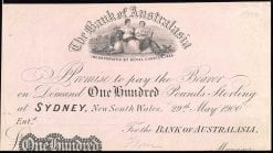 Sydney 100 Pound Banknote Specimen 1900