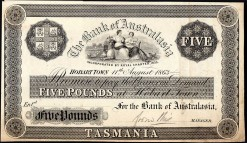 Hobarttown 5 pound banknote 1863