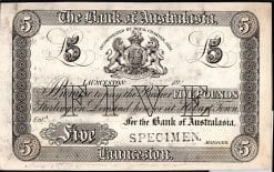 1883 Launceston 5 Pound banknote