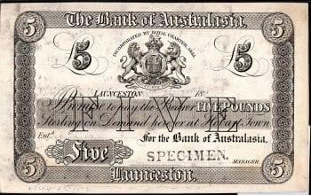 1883 Launceston 5 Pound banknote