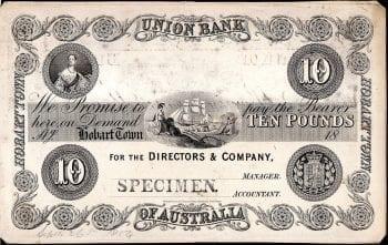 Union Bank Hobart Town 10 Pound 1854
