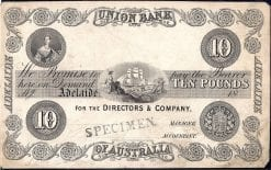 Union Bank 10 Pound Adelaide 1854