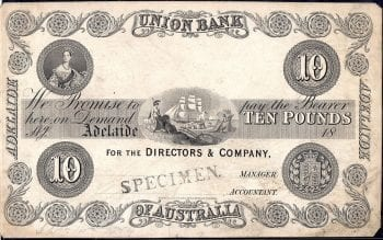 Union Bank 10 Pound Adelaide 1854