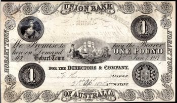Hobart Town One Pound Union Bank of Australasia