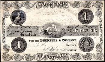 Union Bank One Pound Hobart Town 1875