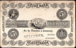 Union Bank Adelaide Five Pound 1874 Specimen