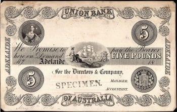 Union Bank Adelaide Five Pound 1874 Specimen