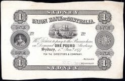 Union Bank One Pound Sydney 1877 Specimen
