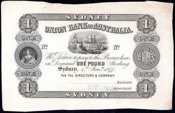 Union Bank One Pound Sydney 1877 Specimen