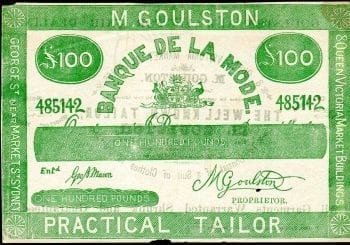 M Goulston Master Tailor One Hundred Pound 1980