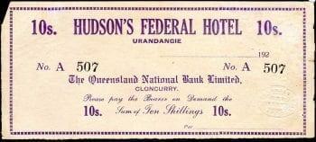 Hudson's Federal Hotel 10 Shilling