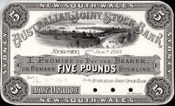 The Australian Joint Stock Bank Limited Five Pound Sydney 1893