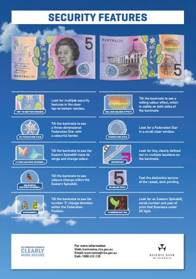 2016 Australian 5 dollar security features