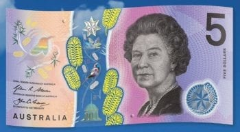 Australian five dollar note 2016 Queen Elizabeth II