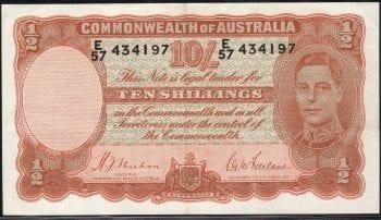 Ten Shillings Sheehan McFarlane 1939 EF