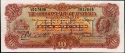 King George V KellCollins Ten Pound Note 1927 OBVERSE