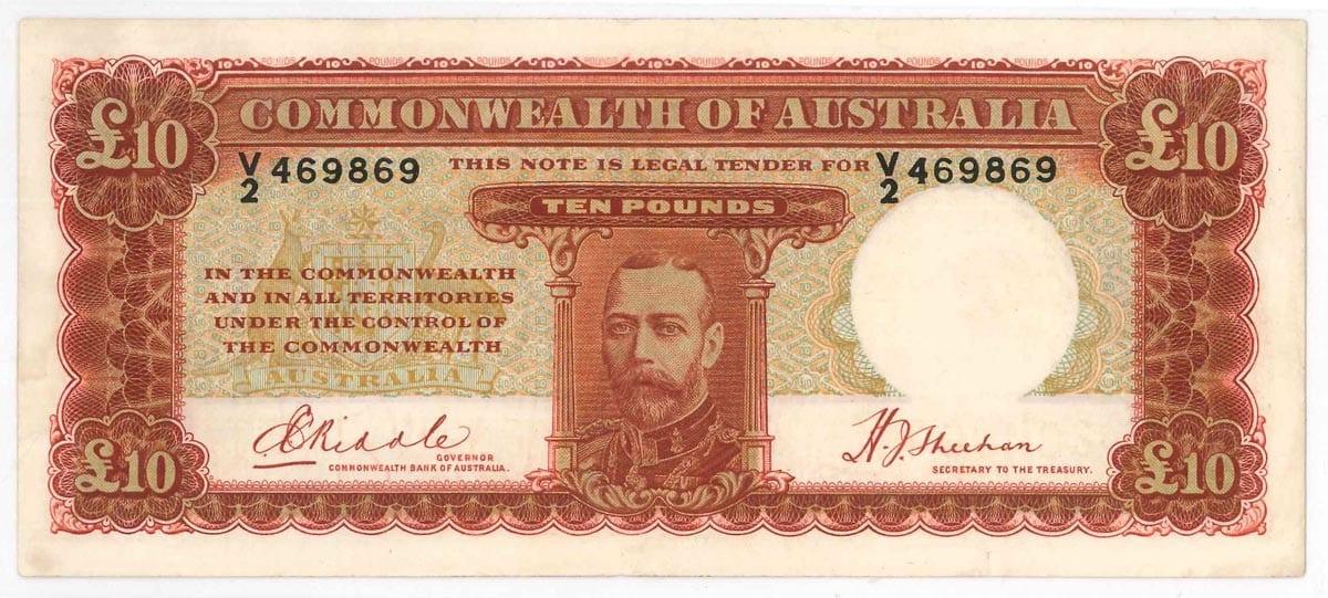 Ten Pound 1934 KGV EF Riddle Sheehan