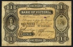 Bank of Victoria Limited 1908 One Pound Issued Note MVR3c