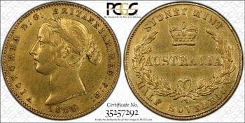 1856- Sydney Mint Half Sovereign