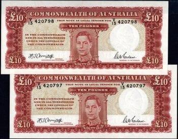 Ten Pound Armitage McFarlane 1942 Pair