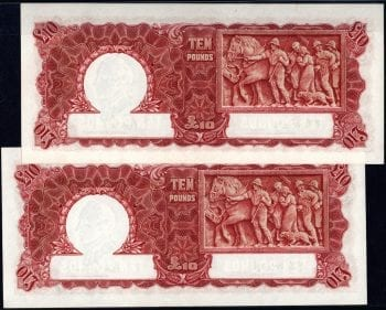 Ten Pound Armitage McFarlane 1942 Pair Obv