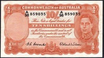 1952 Ten Shillings Coombs Wilson R015 Fine