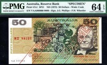Fifty Dollar Phillips Wheeler Type 3 Specimen