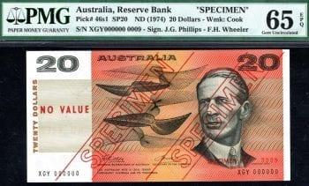 Twenty Dollar Phillips Wheeler Type 3 Specimen