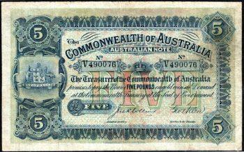 australian pre decimal 5 pound 1916