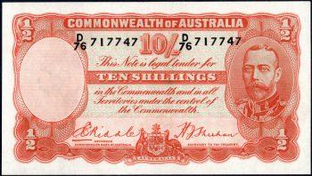 1936 Ten Shillings Riddle Sheehan R011