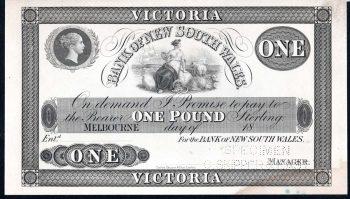 BANK OF NSW 1853 OBVERSE ONE POUND