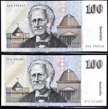 $100 ERROR NOTE FRASER HIGGINS OBVERSE