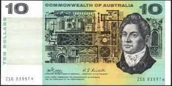 Ten dollar Australian paper star note