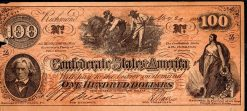 One Hundred Pount 1862 Confederate Bank Note